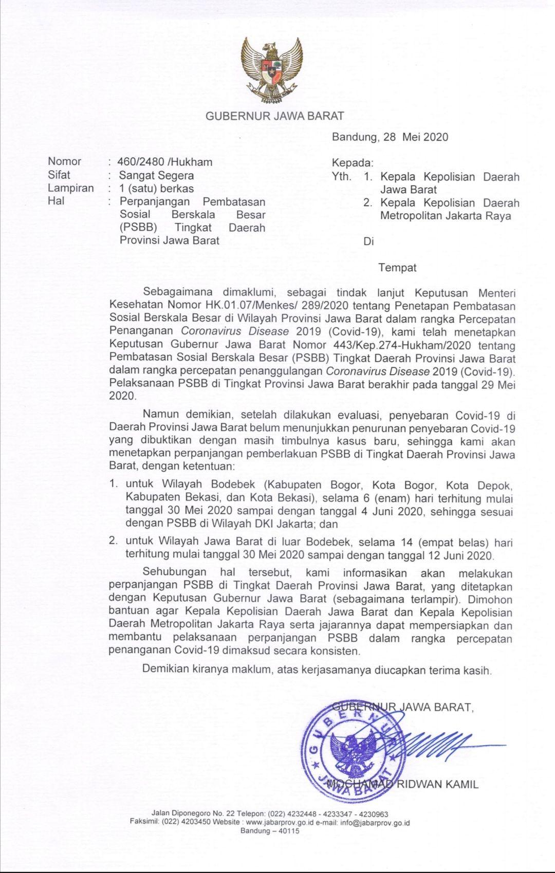 Surat putusan Gubernur terkait perpanjang PSBB Bandung